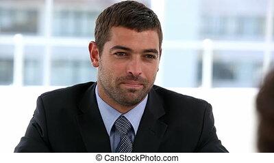 Handsome businessman interviewing