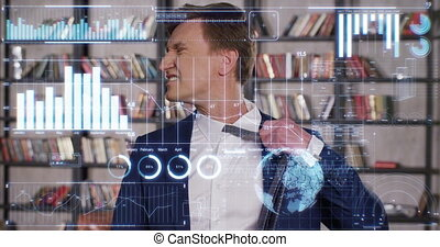 Handsome Businessman is Very Tired of the Huge Amount of Economic Information Presented in the Appearing Charts and Graphs. Slow Motion Business Concept. Businessman Series 4K UHD 4096x2160.