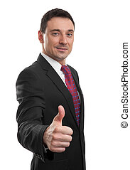 handsome businessman showing his thumb up