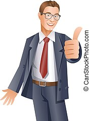 Handsome businessman showing thumbs up gesture on white background. Vector