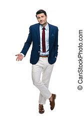 Handsome businessman shrugging shoulders