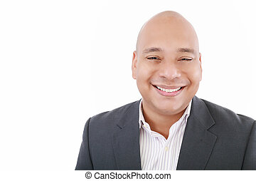 Handsome businessman smiling - isolated over a white background