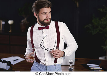 Handsome businessman taking a break