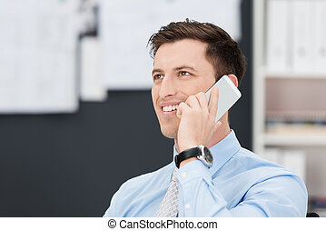 Handsome businessman talking on his mobile