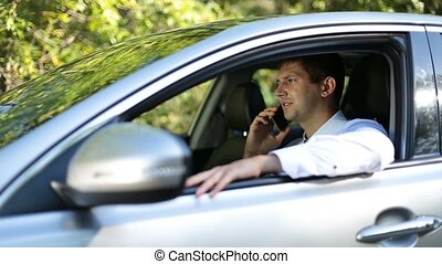 Handsome businessman talking on phone in car