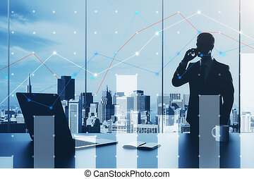 Handsome businessman talking on the phone in modern office interior with laptop, coffee cup and notepad on desktop, digital business chart and window with city view. Data concept. Double exposure