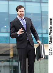 handsome businessman with a briefcase
