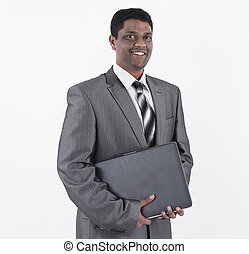 handsome businessman with a laptop .isolated on white
