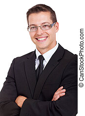 handsome businessman with arms folded