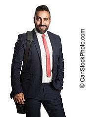 Handsome businessman with bag