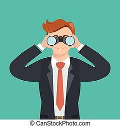 Handsome businessman with binoculars