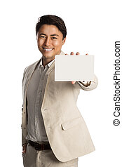 Handsome businessman with blank paper