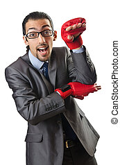 Handsome businessman with boxing gloves