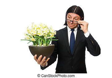 Handsome businessman with flower pot isolated on white