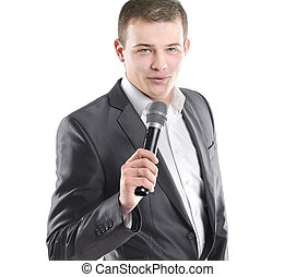 handsome businessman with microphone.isolated on white