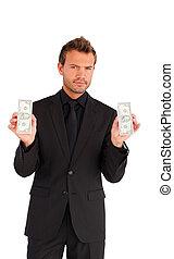 Handsome businessman with money