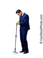 Handsome businessman with the mop isolated on white background