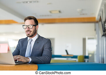 Handsome businessman working on laptop in office