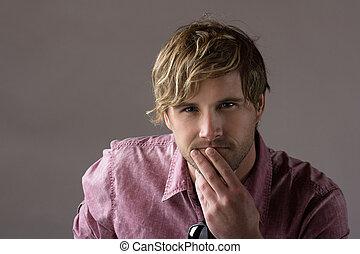 Handsome caucasian man - Portrait of a handsome blonde ...