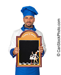 Handsome chef with menu isolated on white background
