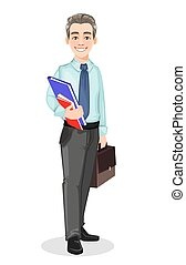 Handsome confident business man holds briefcase and documents. Businessman cartoon character. Stock vector