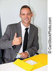 confident businessman with a beaming friendly smile