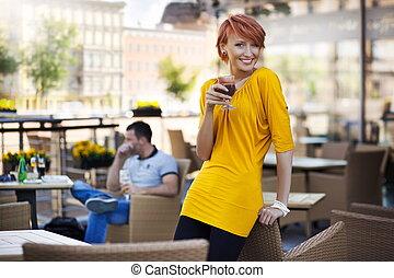 Handsome couple relaxing in nice restaurant