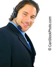 Handsome Customer Service Smiling