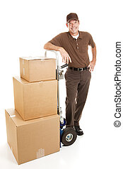 Delivery man or mover resting with a stack of boxes. Full body isolated on white.