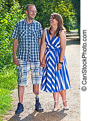 Handsome disabled man with his girlfriend