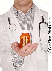 Doctor With Medication in Prescription Bottles