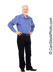 Handsome elderly man with beard isolated over white...