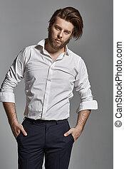 Handsome elegant man with beard