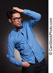 fashion man dressed casual with glasses