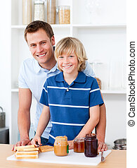 Handsome father with his son at the