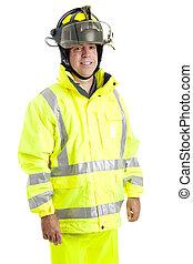 Handsome Firefighter on White