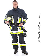 Handsome fireman in his uniform and gear