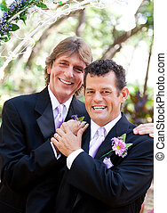Handsome Gay Couple on Wedding Day - Handsome gay couple...