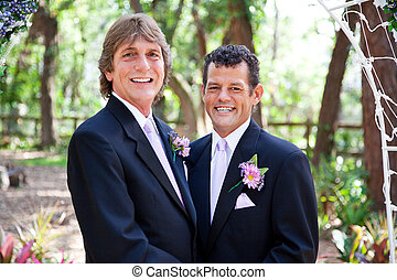 Handsome Gay Wedding Couple - Handsome gay couple getting...