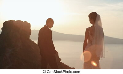 Handsome groom and his charming  bride watching the view on top of the hill at sunset sky background