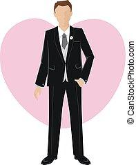 Handsome Groom - Vector Illustration of Groom