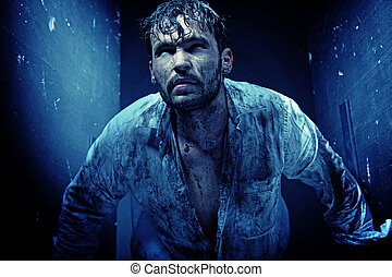 Handsome guy in a dirty white shirt - Handsome man in a...