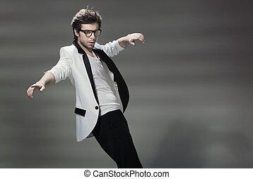 Handsome guy wearing tuxedo's jacket