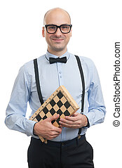 Handsome guy with chess board