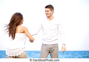 Handsome Guy with His Girlfriend Enjoying the Outdoors