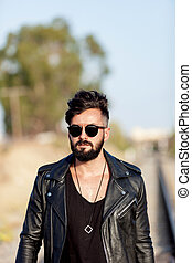 Handsome guy with leather jacket