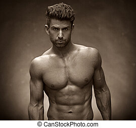 Handsome guy with muscular torso - Handsome man with...