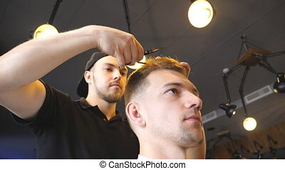 Handsome hairdresser trimming hair of his client in salon....