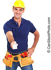 handsome handyman handing over his business card