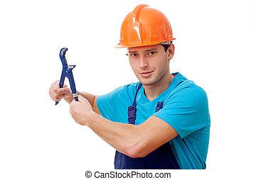 Handsome handyman on white background